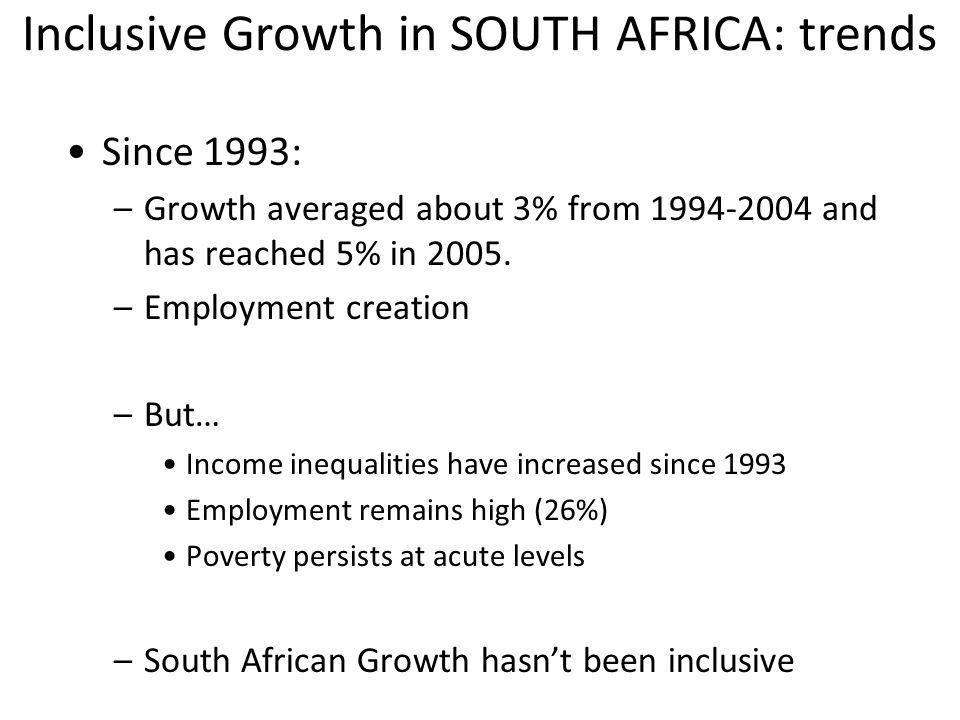 Inclusive Growth in SOUTH AFRICA: trends