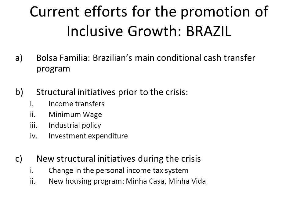 Current efforts for the promotion of Inclusive Growth: BRAZIL