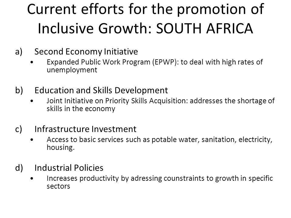 Current efforts for the promotion of Inclusive Growth: SOUTH AFRICA