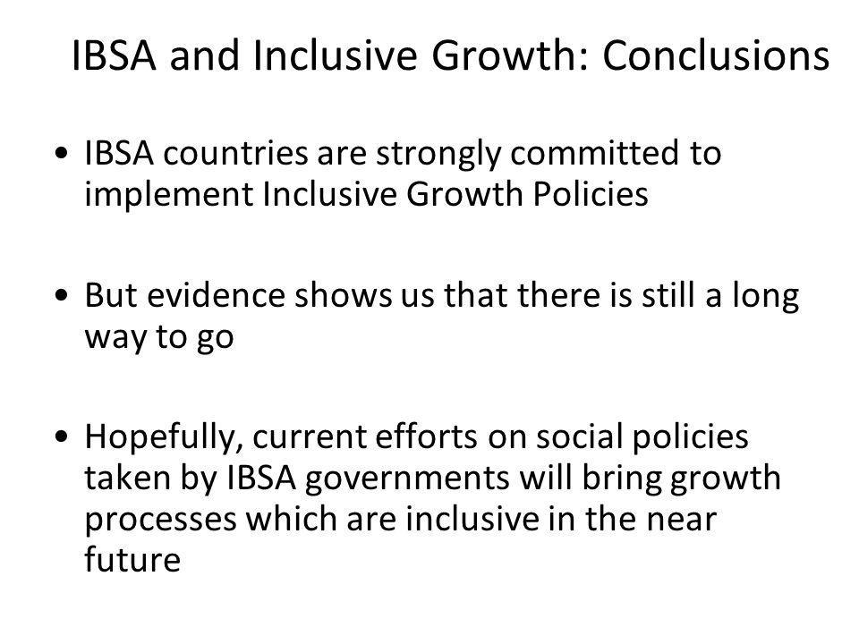 IBSA and Inclusive Growth: Conclusions