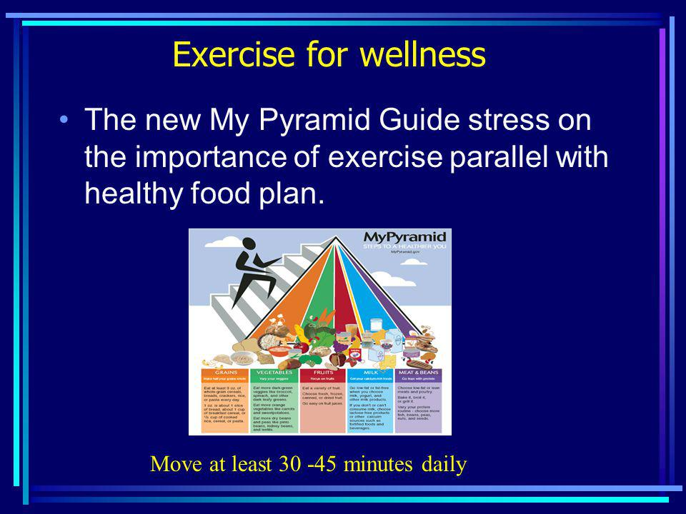 Exercise for wellness The new My Pyramid Guide stress on the importance of exercise parallel with healthy food plan.