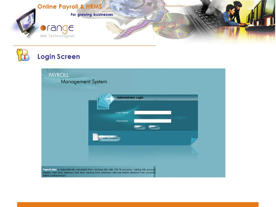 Online Payroll & HRMS For growing businesses Login Screen