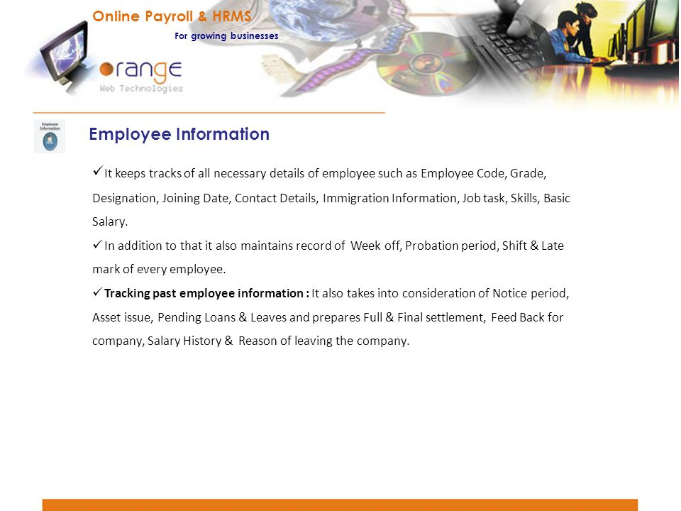 Employee Information Online Payroll & HRMS
