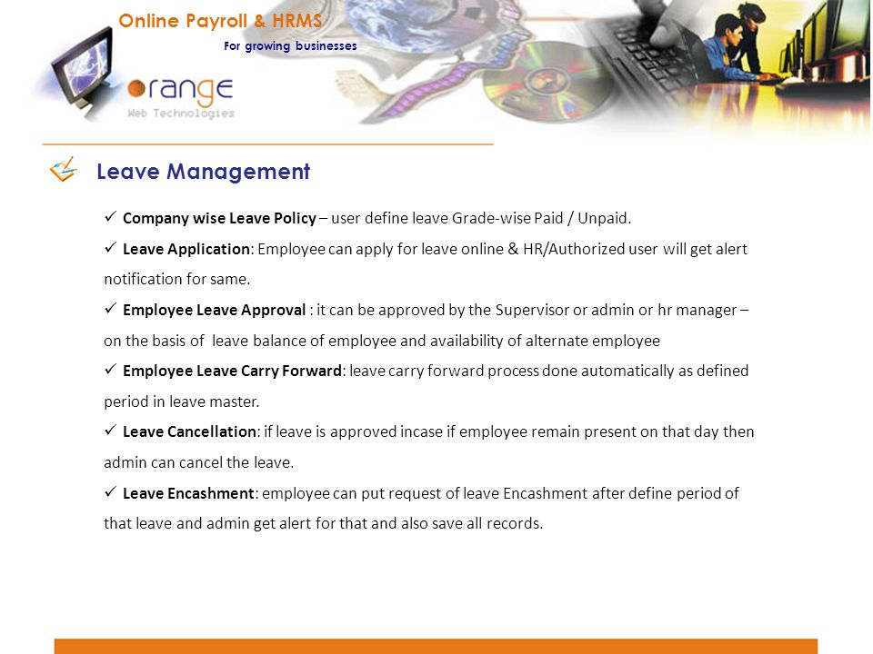 Leave Management Online Payroll & HRMS For growing businesses