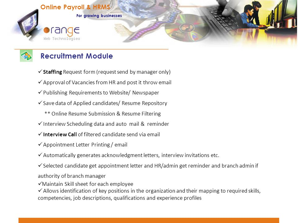 Recruitment Module Online Payroll & HRMS For growing businesses