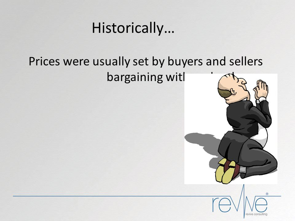 Historically… Prices were usually set by buyers and sellers bargaining with each other. BUT NOW ...