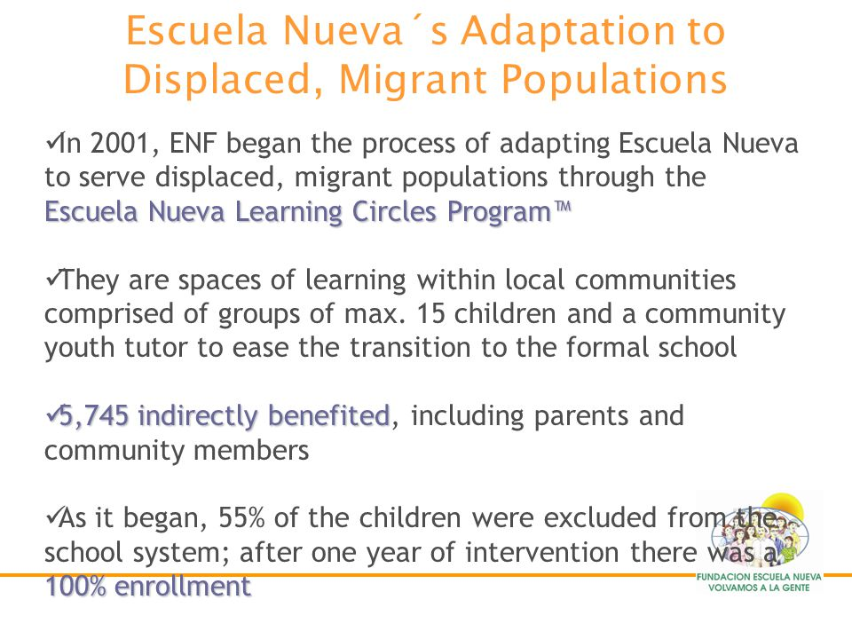 Escuela Nueva´s Adaptation to Displaced, Migrant Populations