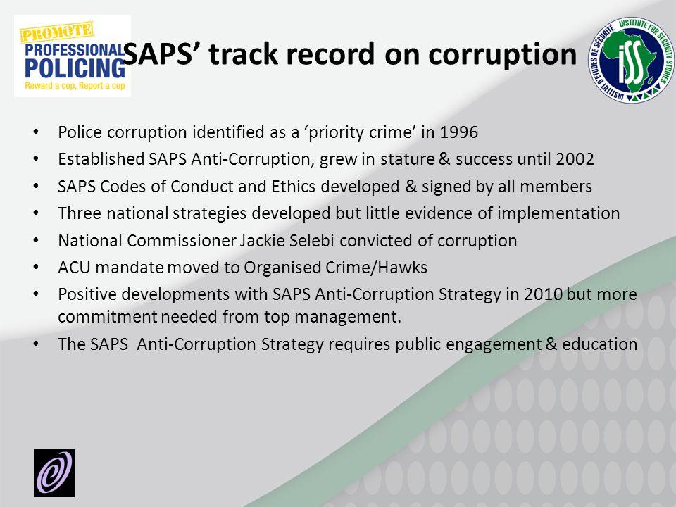 SAPS' track record on corruption