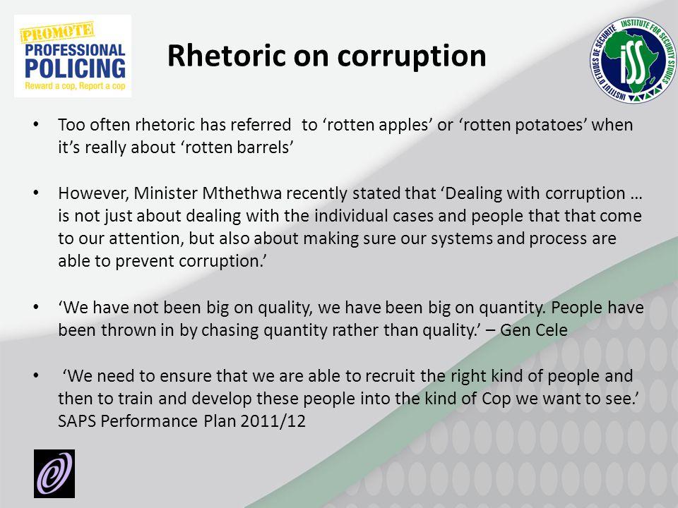 Rhetoric on corruption