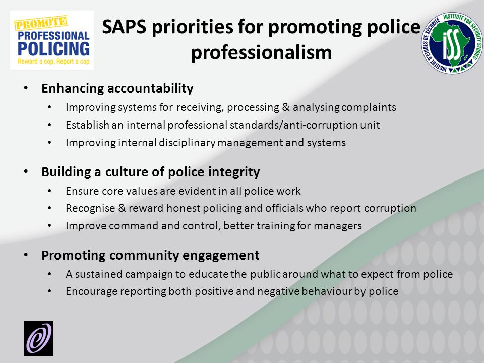 SAPS priorities for promoting police professionalism