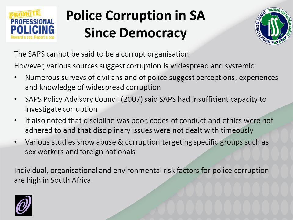 Police Corruption in SA Since Democracy