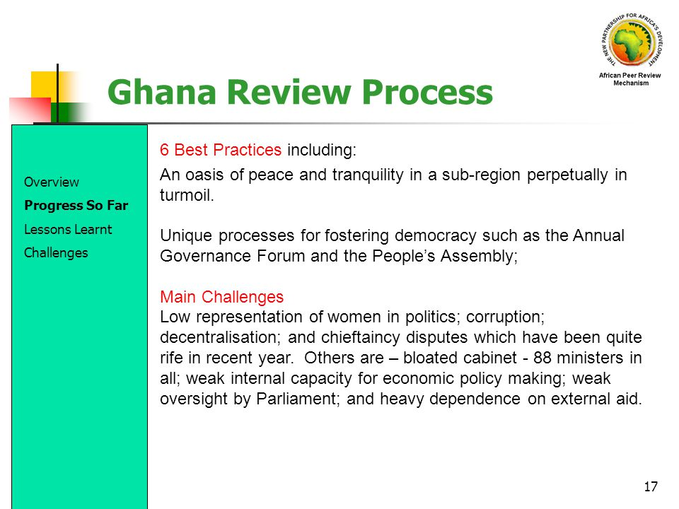 Ghana Review Process 6 Best Practices including: