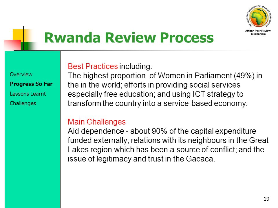 Rwanda Review Process Best Practices including: