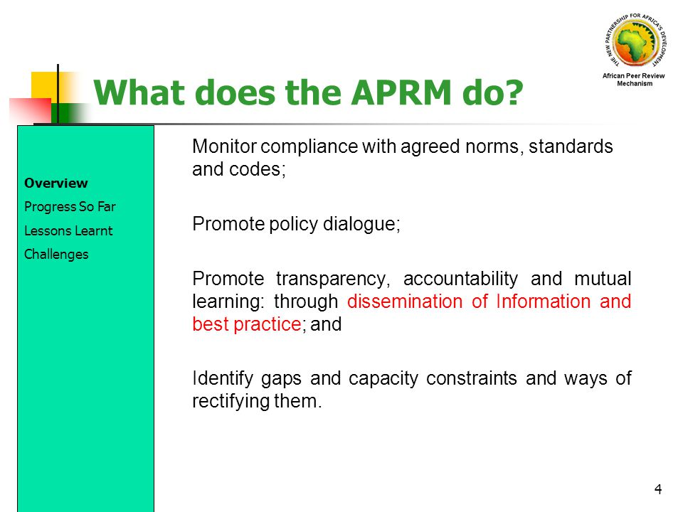 What does the APRM do Monitor compliance with agreed norms, standards and codes; Promote policy dialogue;