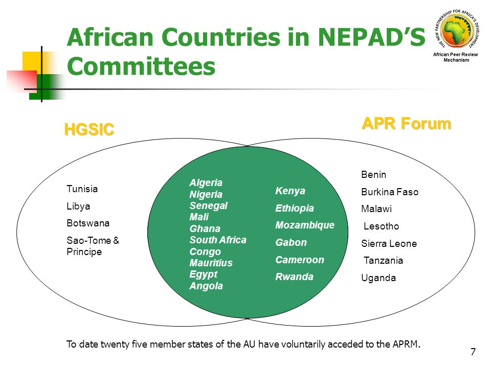 African Countries in NEPAD'S Committees