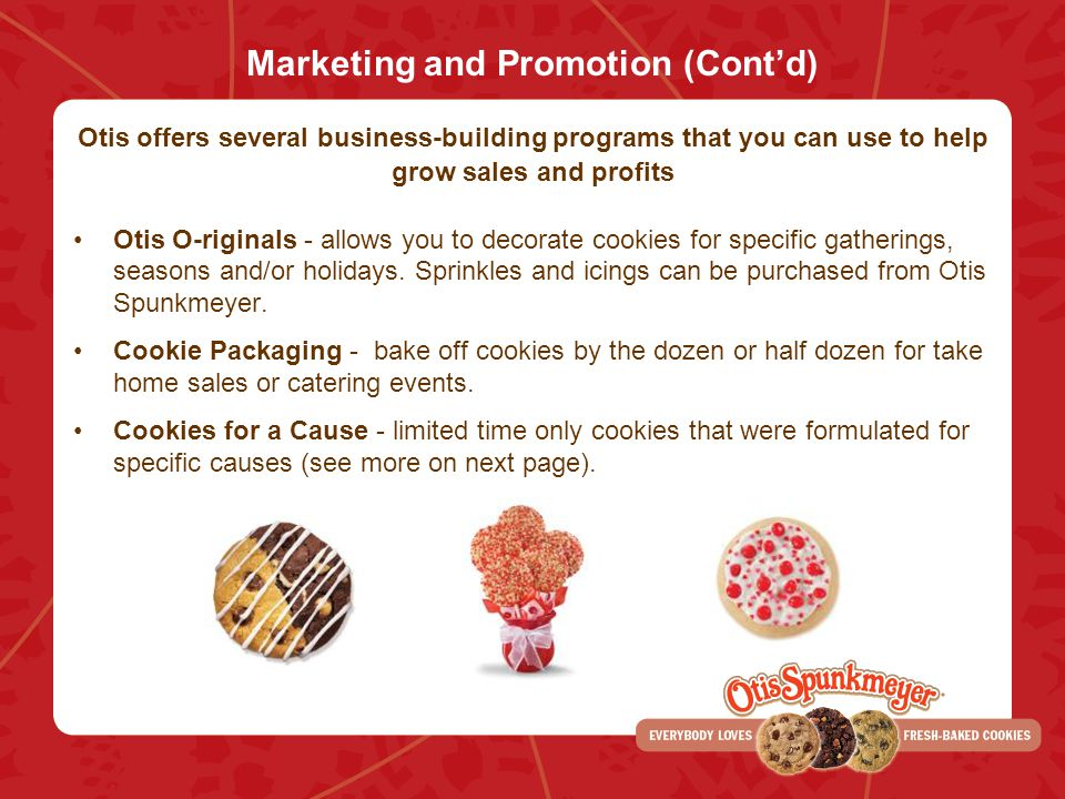 Marketing and Promotion (Cont'd)