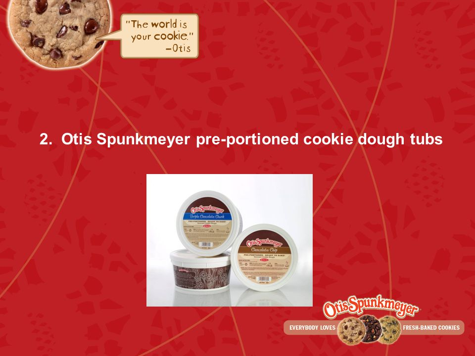 2. Otis Spunkmeyer pre-portioned cookie dough tubs