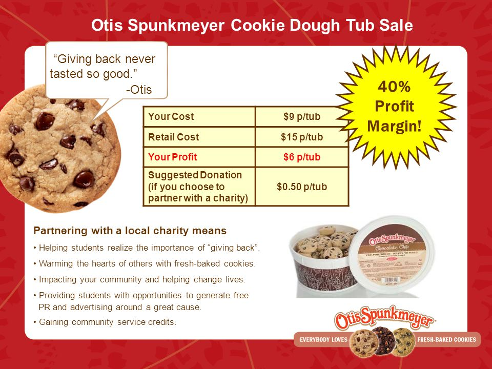 Otis Spunkmeyer Cookie Dough Tub Sale