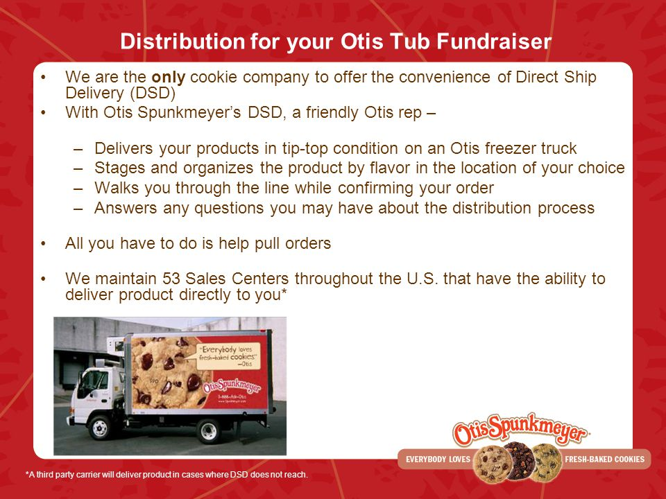 Distribution for your Otis Tub Fundraiser