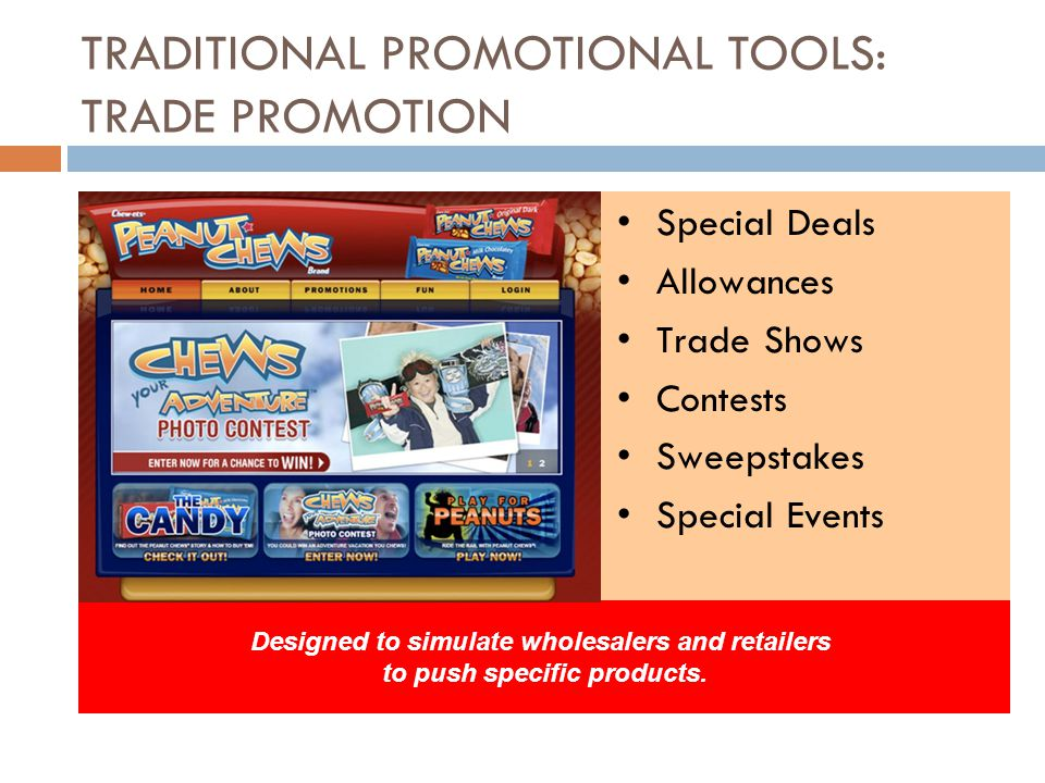 TRADITIONAL PROMOTIONAL TOOLS: TRADE PROMOTION