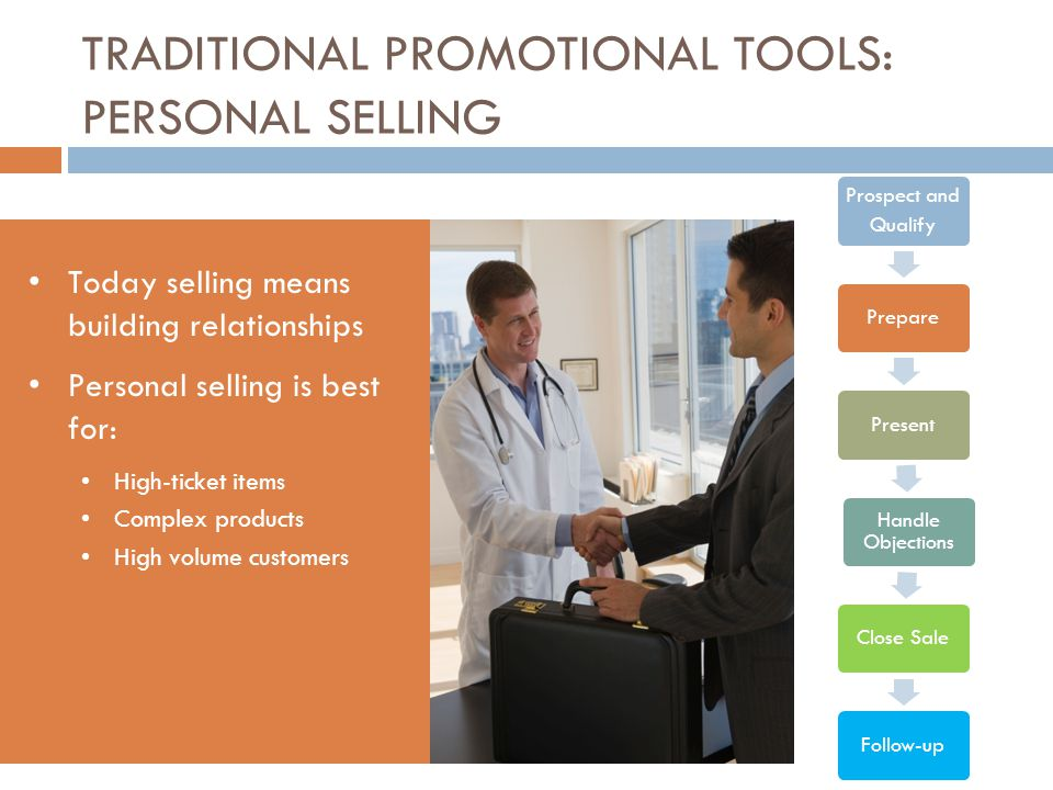 TRADITIONAL PROMOTIONAL TOOLS: PERSONAL SELLING