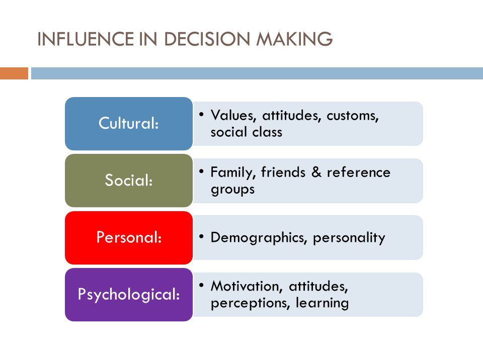 INFLUENCE IN DECISION MAKING