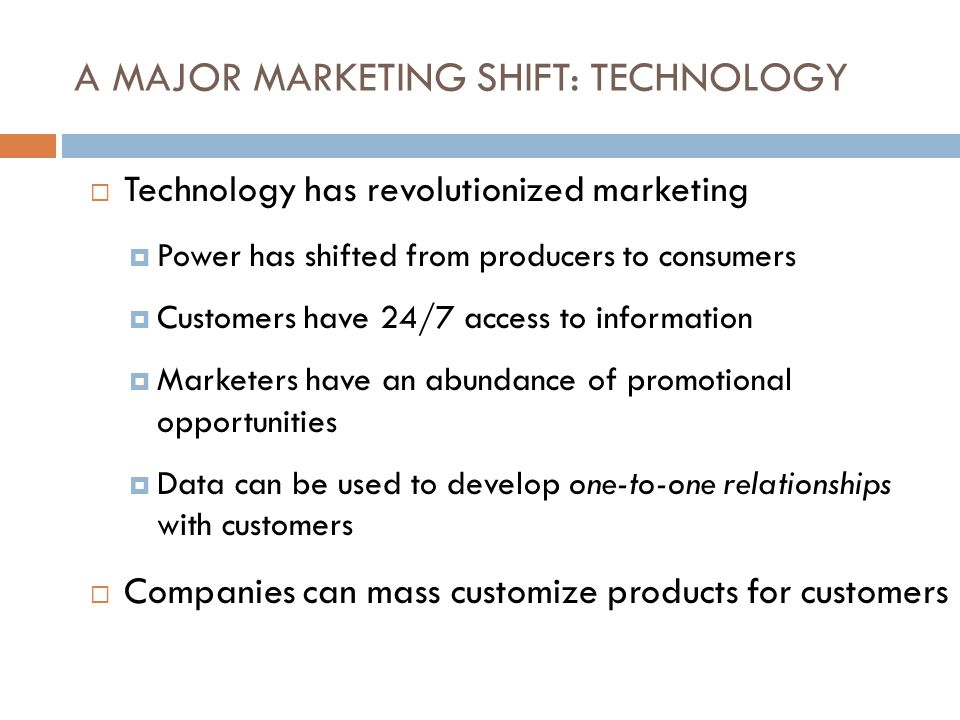 A MAJOR MARKETING SHIFT: TECHNOLOGY