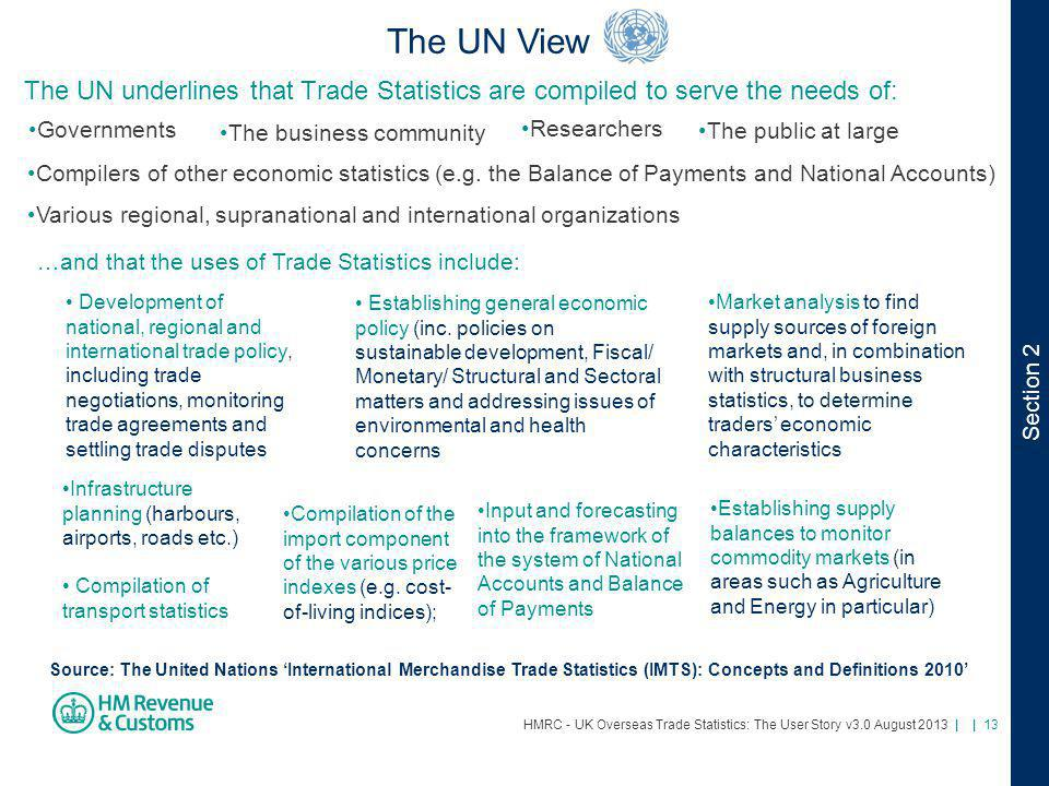 The UN View The UN underlines that Trade Statistics are compiled to serve the needs of: Governments.