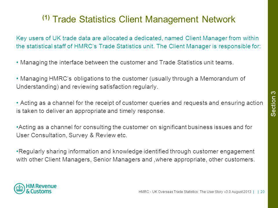(1) Trade Statistics Client Management Network