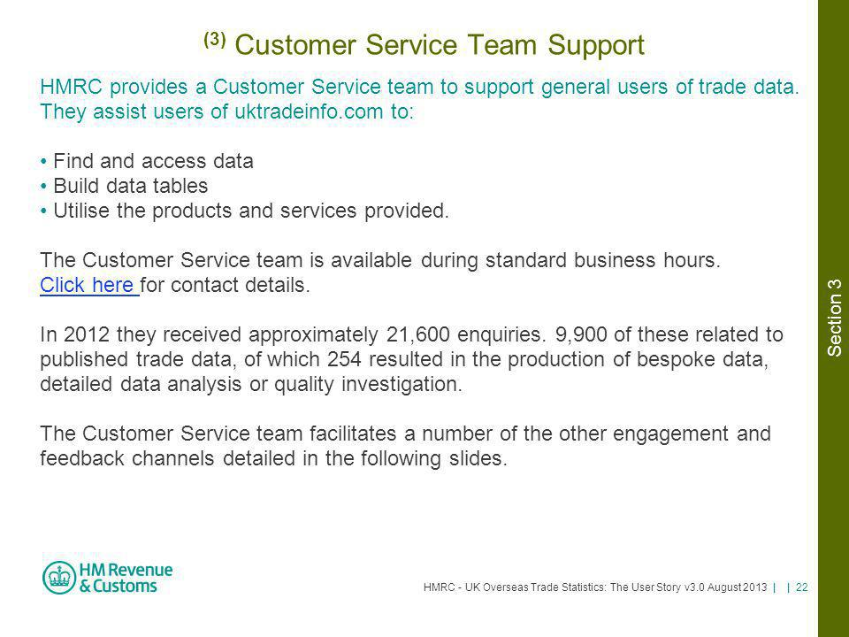(3) Customer Service Team Support