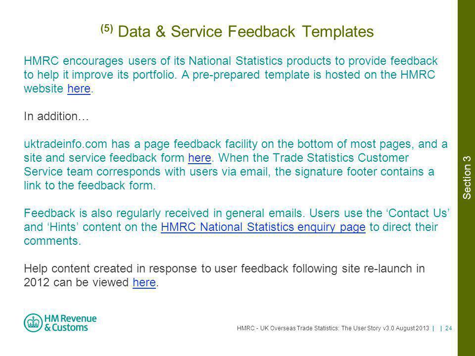 (5) Data & Service Feedback Templates