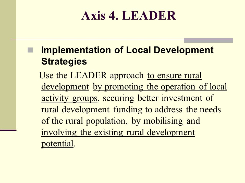 Axis 4. LEADER Implementation of Local Development Strategies