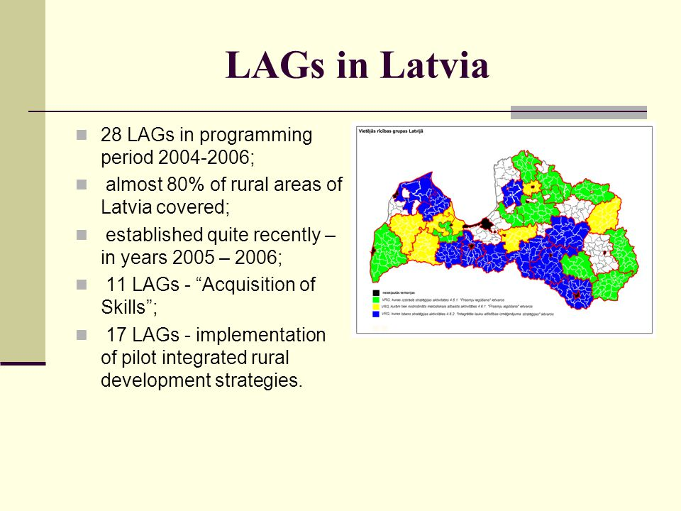 LAGs in Latvia 28 LAGs in programming period 2004-2006;