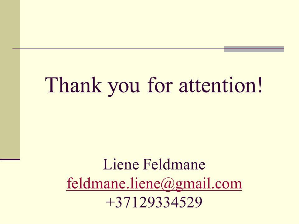 Thank you for attention. Liene Feldmane feldmane. liene@gmail