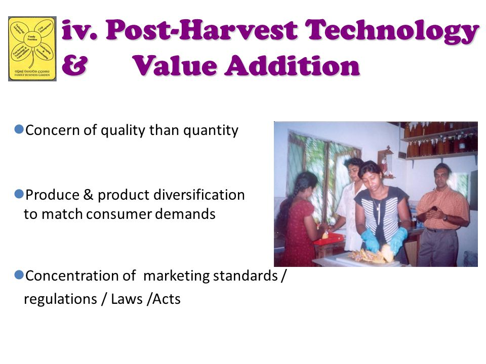 iv. Post-Harvest Technology & Value Addition