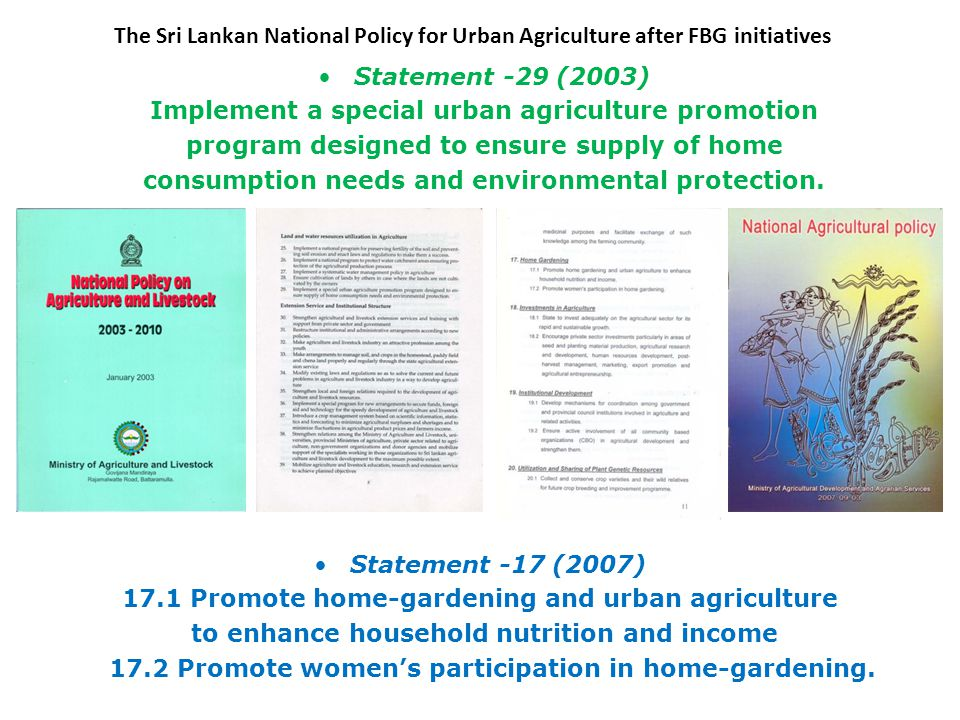 The Sri Lankan National Policy for Urban Agriculture after FBG initiatives