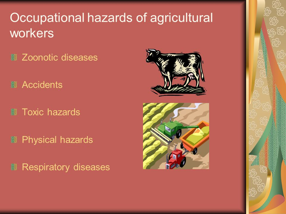 Occupational hazards of agricultural workers