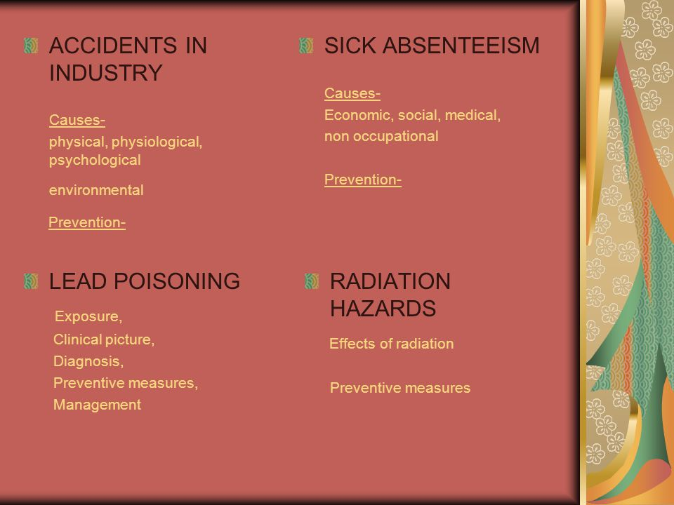 ACCIDENTS IN INDUSTRY Prevention- SICK ABSENTEEISM LEAD POISONING