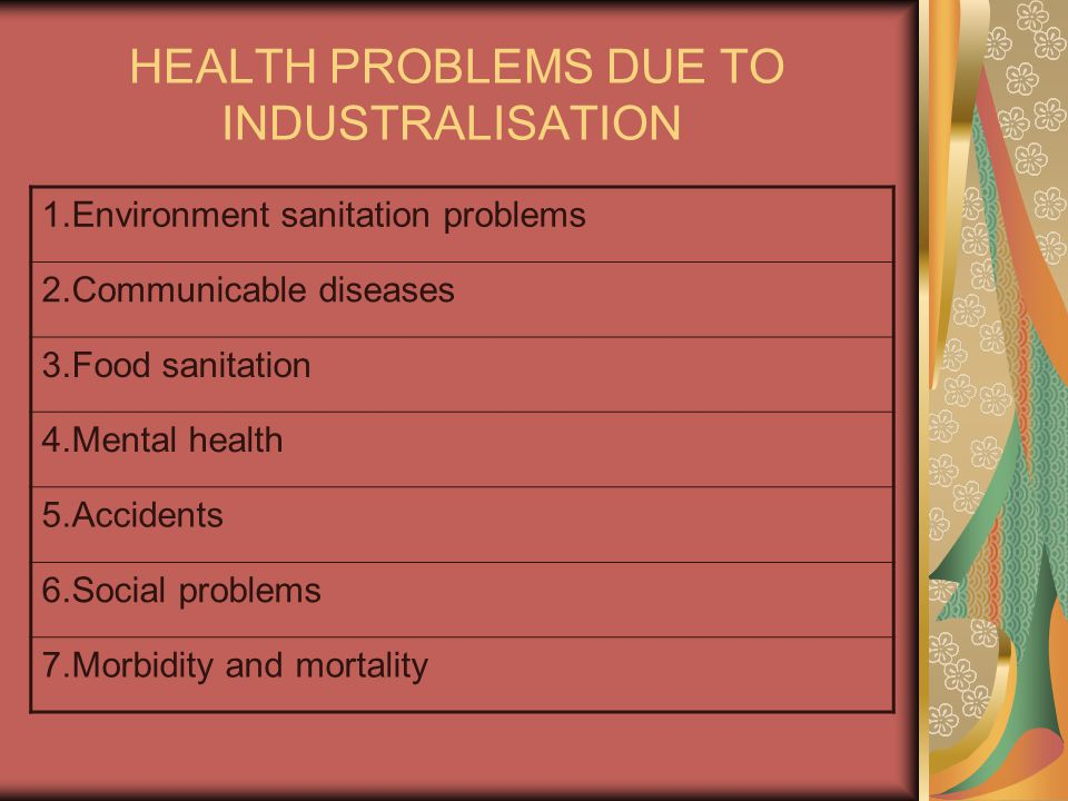 HEALTH PROBLEMS DUE TO INDUSTRALISATION