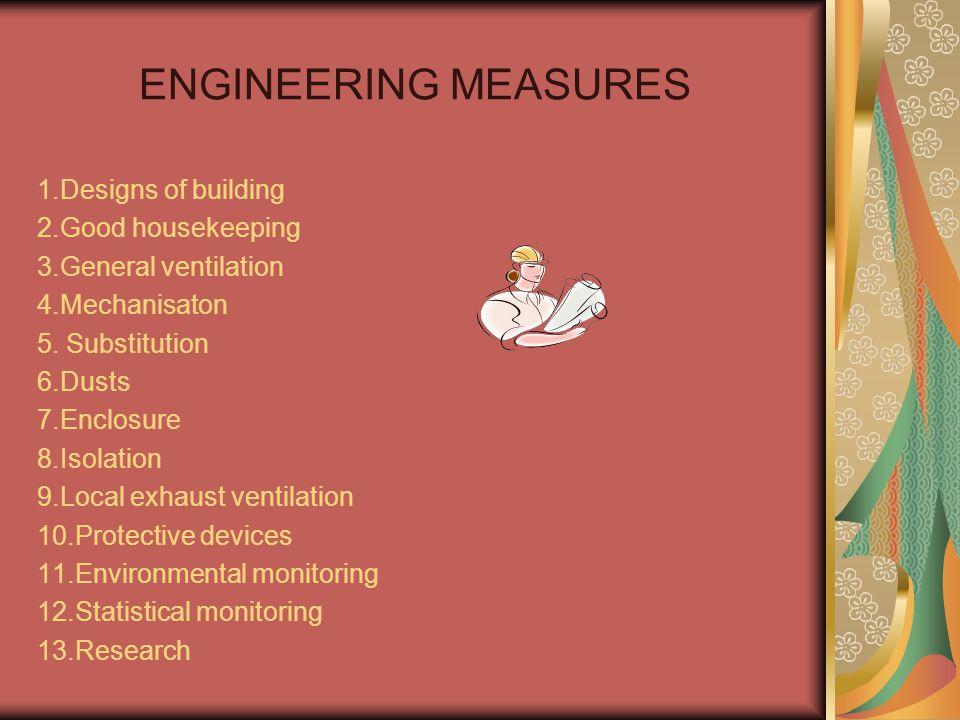ENGINEERING MEASURES 1.Designs of building 2.Good housekeeping