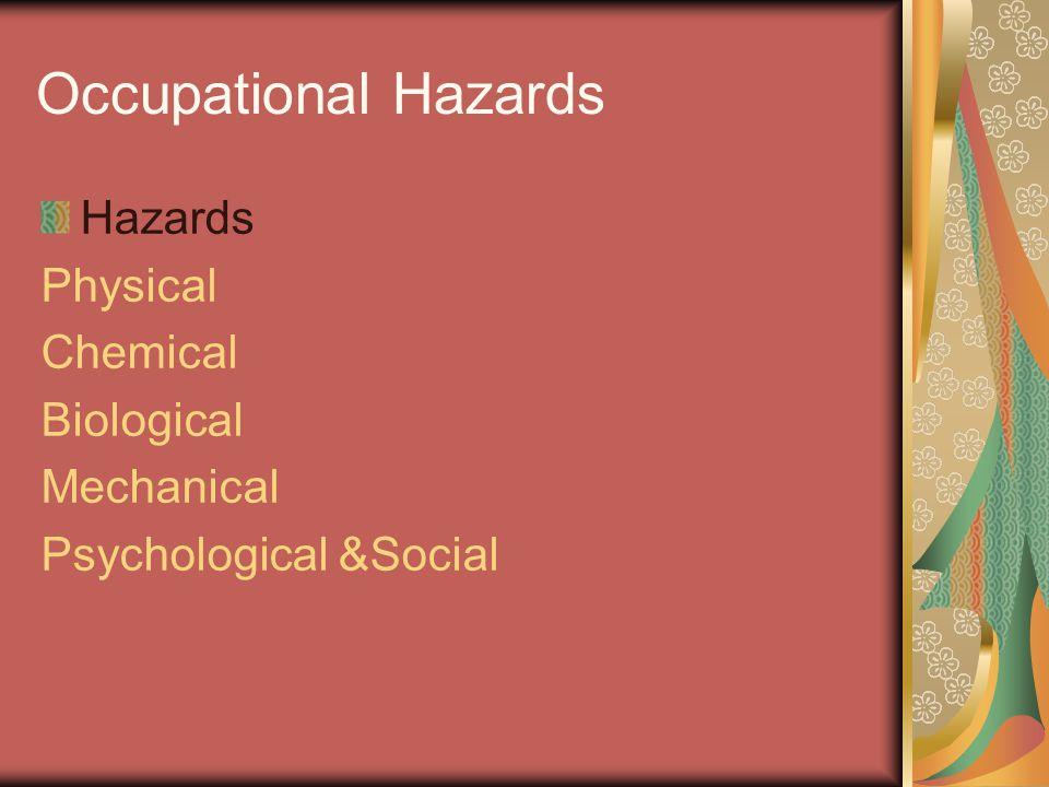 Occupational Hazards Hazards Physical Chemical Biological Mechanical
