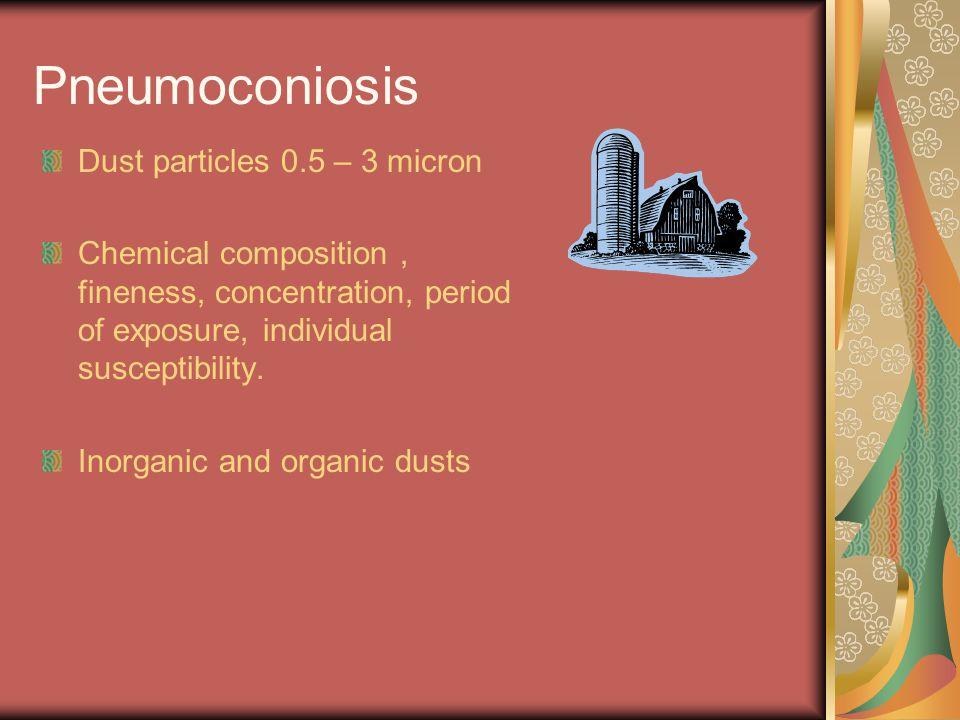 Pneumoconiosis Dust particles 0.5 – 3 micron