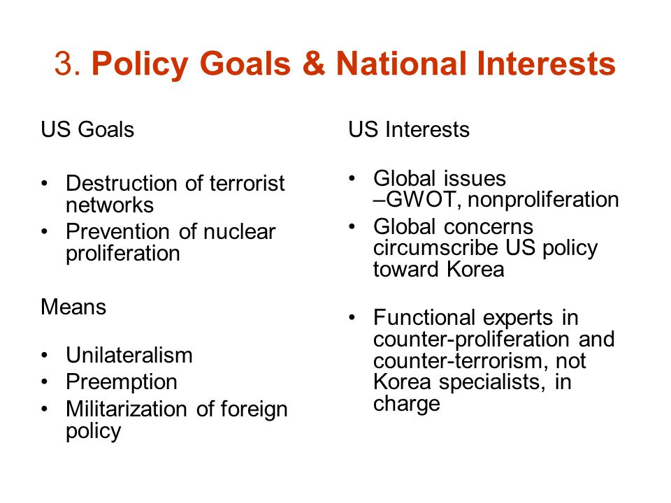 3. Policy Goals & National Interests