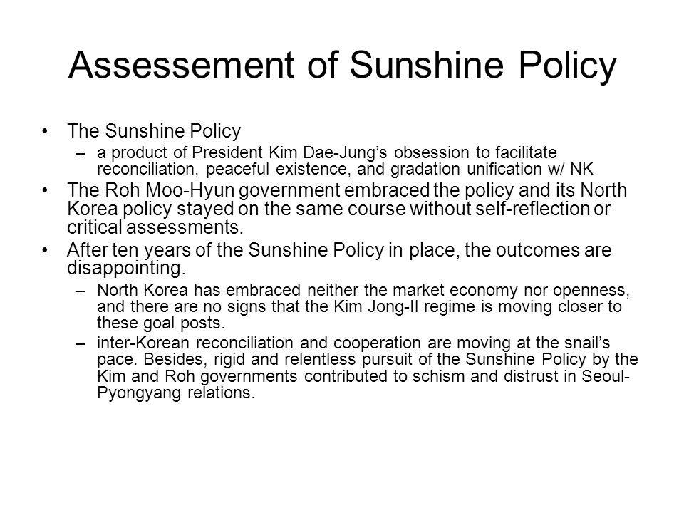 Assessement of Sunshine Policy
