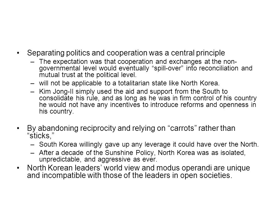 Separating politics and cooperation was a central principle