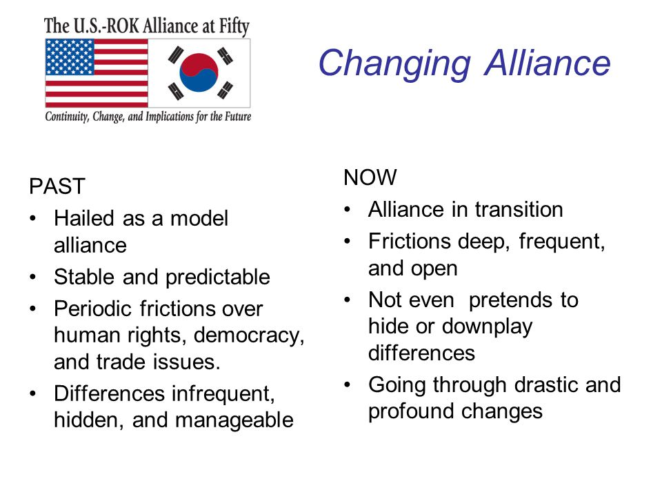 Changing Alliance NOW PAST Alliance in transition