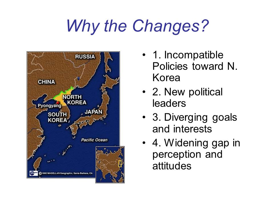 Why the Changes 1. Incompatible Policies toward N. Korea