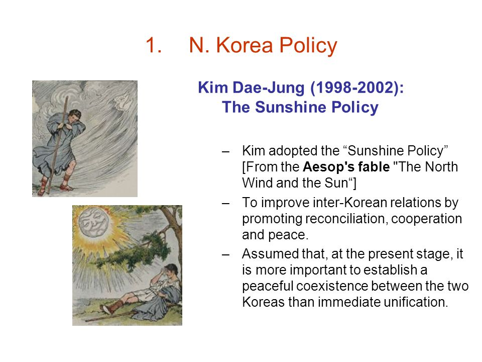 N. Korea Policy Kim Dae-Jung (1998-2002): The Sunshine Policy