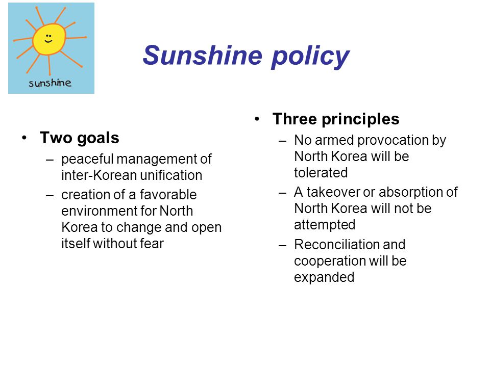 Sunshine policy Three principles Two goals