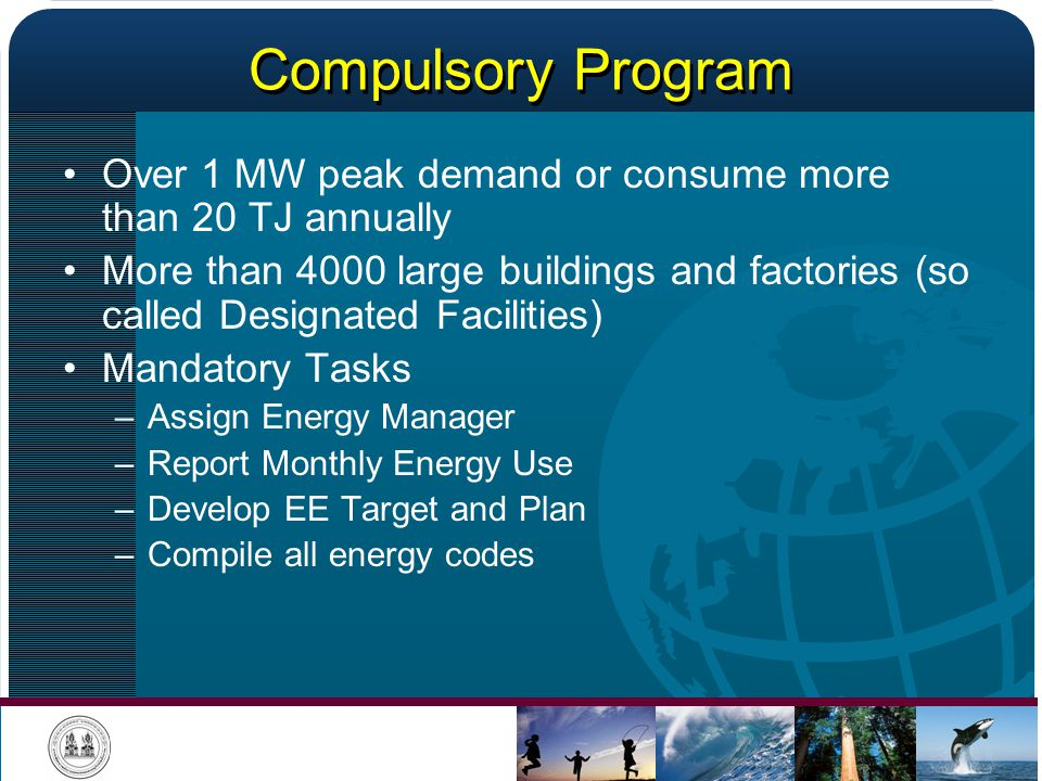 Compulsory Program Over 1 MW peak demand or consume more than 20 TJ annually.